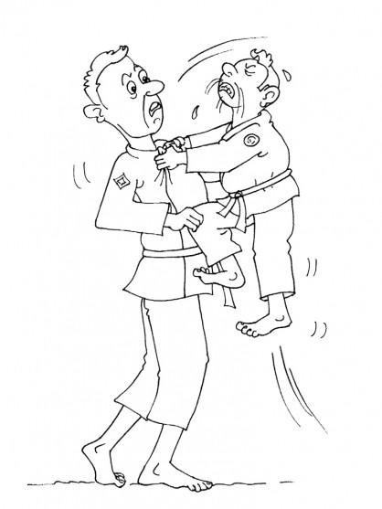 Coloriage et dessins gratuits Judoka drôle à imprimer