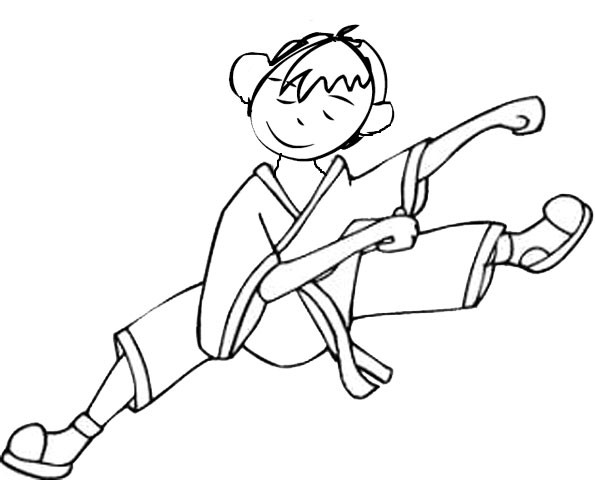 Coloriage et dessins gratuits Judoka écarte les jambes à imprimer