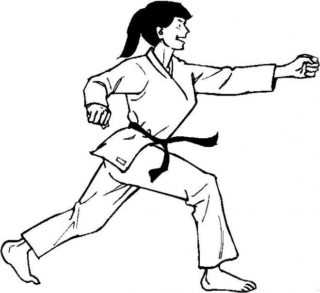 Coloriage et dessins gratuits Judoka femme à imprimer