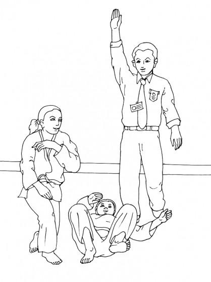 Coloriage et dessins gratuits Judoka gagnante à imprimer