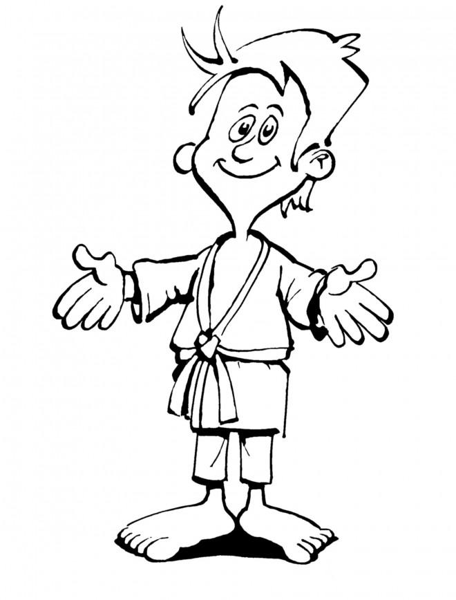 Coloriage et dessins gratuits Judoka heureux à imprimer