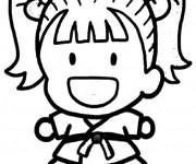 Coloriage et dessins gratuit Judoka mignonne à imprimer