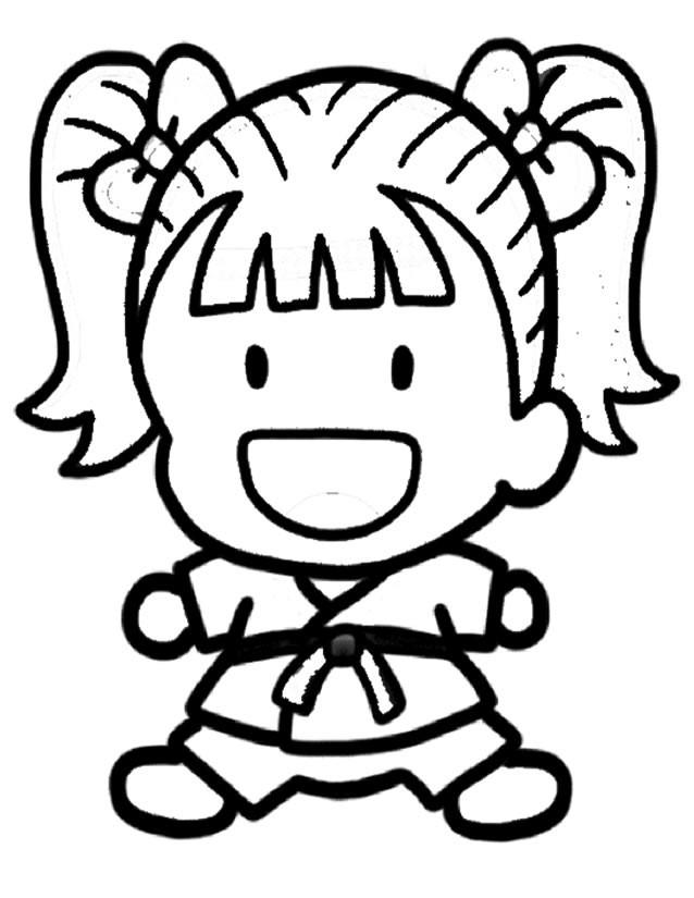 Coloriage et dessins gratuits Judoka mignonne à imprimer