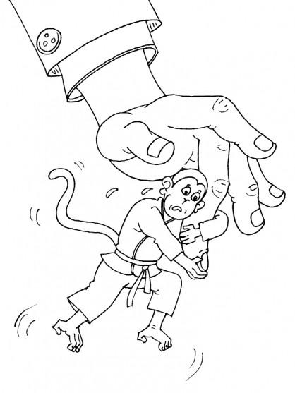 Coloriage et dessins gratuits Judoka Singe humoristique à imprimer
