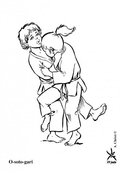 Coloriage et dessins gratuits Judokas en action à imprimer