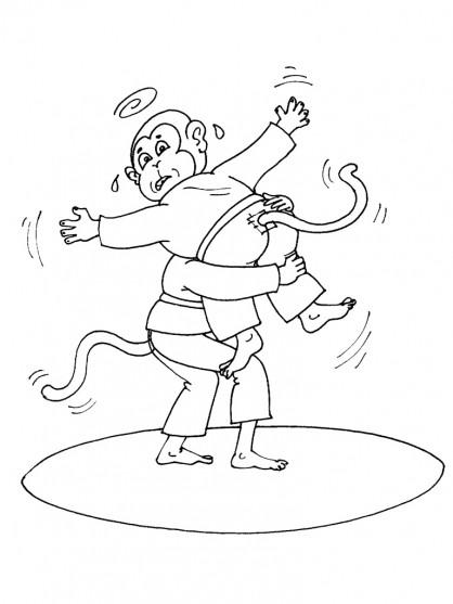 Coloriage et dessins gratuits Judokas singes dessin animé à imprimer