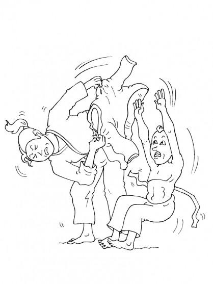Coloriage et dessins gratuits Le Judoka malheureux à imprimer