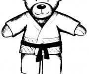Coloriage et dessins gratuit Ours Judoka à imprimer