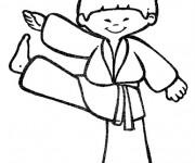 Coloriage Enfant portant Kimono Karaté