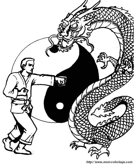 Coloriage et dessins gratuits Judoka et Le Dragon à imprimer