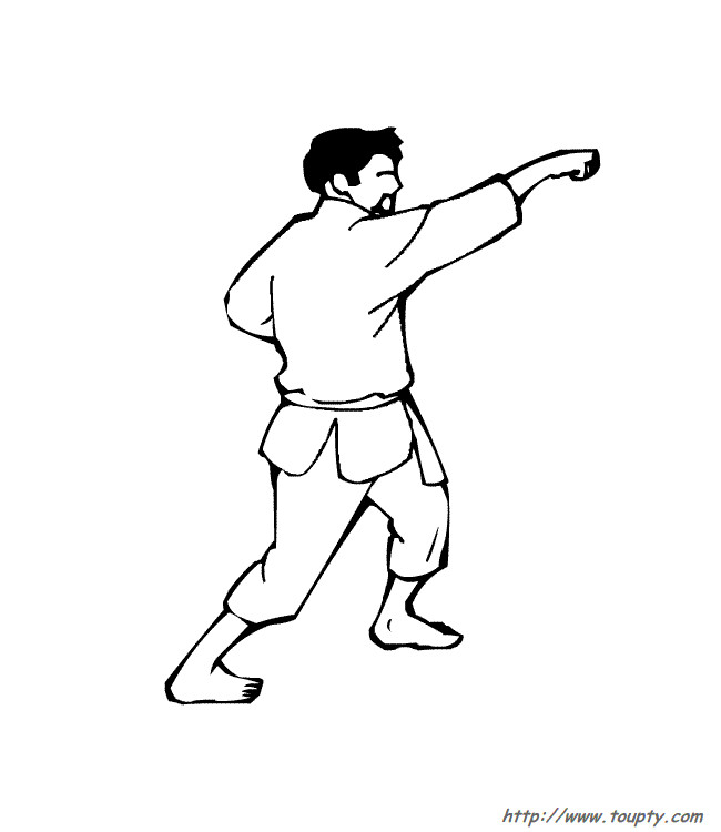 Coloriage et dessins gratuits Karaté attaque avec les mains à imprimer