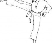 Coloriage Karaté attaque coup de pied