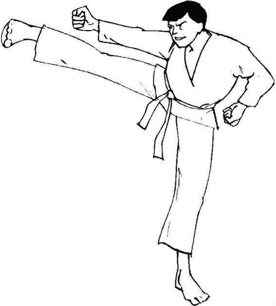 Coloriage et dessins gratuits Karaté attaque coup de pied à imprimer