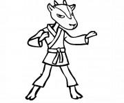 Coloriage et dessins gratuit Karaté chèvre dessin animé à imprimer