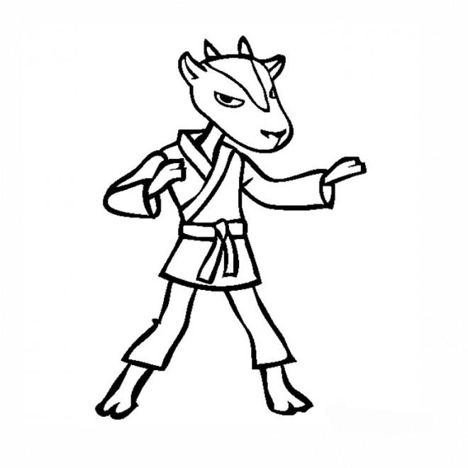 Coloriage et dessins gratuits Karaté chèvre dessin animé à imprimer
