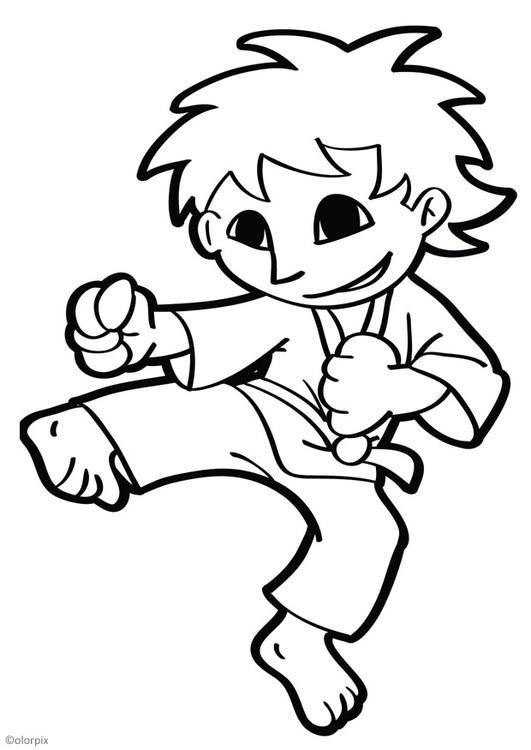Coloriage et dessins gratuits Karaté enfant vecteur à imprimer