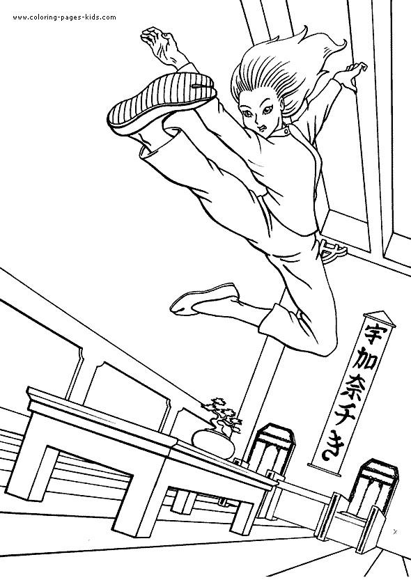Coloriage et dessins gratuits Karaté femme en action à imprimer