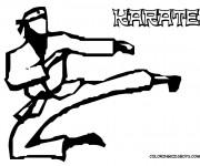 Coloriage Karaté joueur en noir