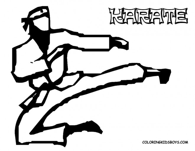 Coloriage et dessins gratuits Karaté joueur en noir à imprimer