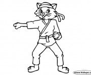 Coloriage et dessins gratuit Le Chat joueur Karaté à imprimer
