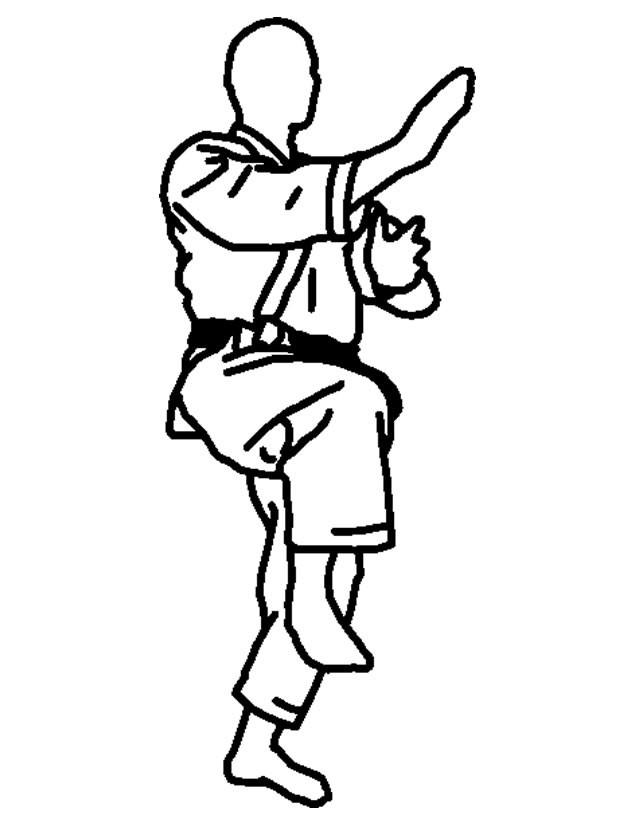 Coloriage et dessins gratuits Position de Joueur de Karaté à imprimer