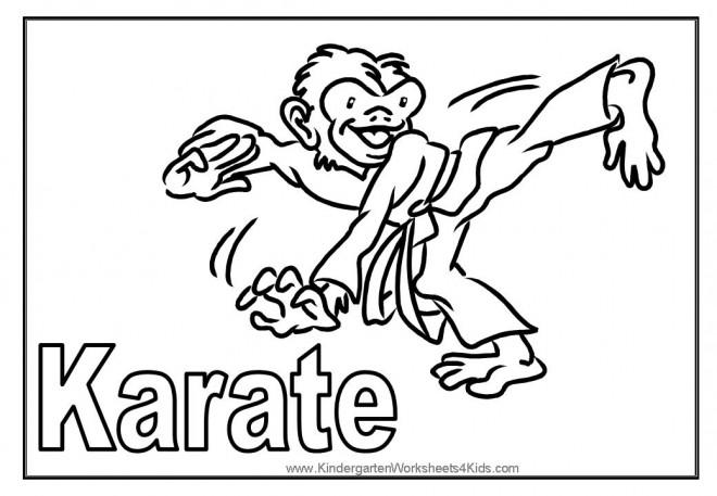 Coloriage et dessins gratuits Singe et techniques de Karaté à imprimer