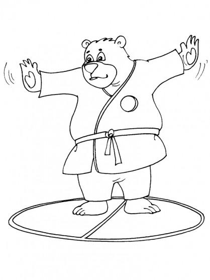 Coloriage et dessins gratuits Un gros Ours portant Kimono à imprimer