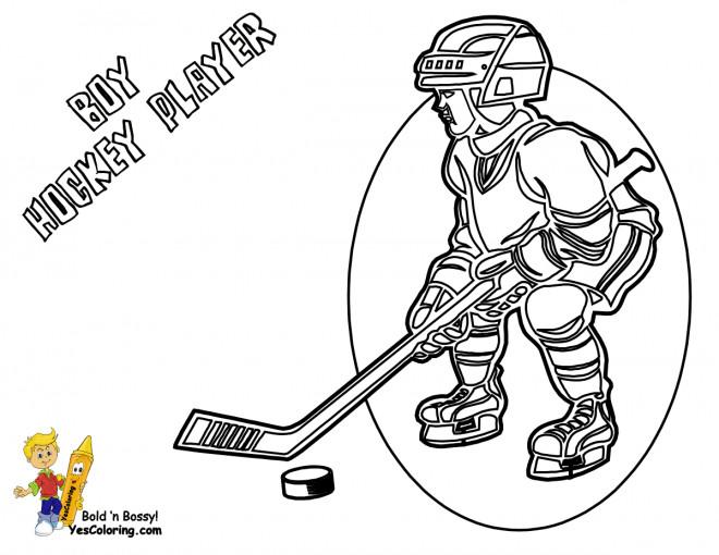 Coloriage et dessins gratuits Enfant Joueur de Hockey à imprimer