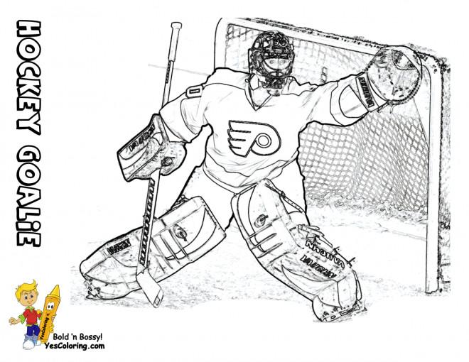 Coloriage et dessins gratuits Goal au Hockey sur glace à imprimer