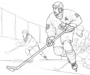 Coloriage Match de Hockey sur glace au crayon
