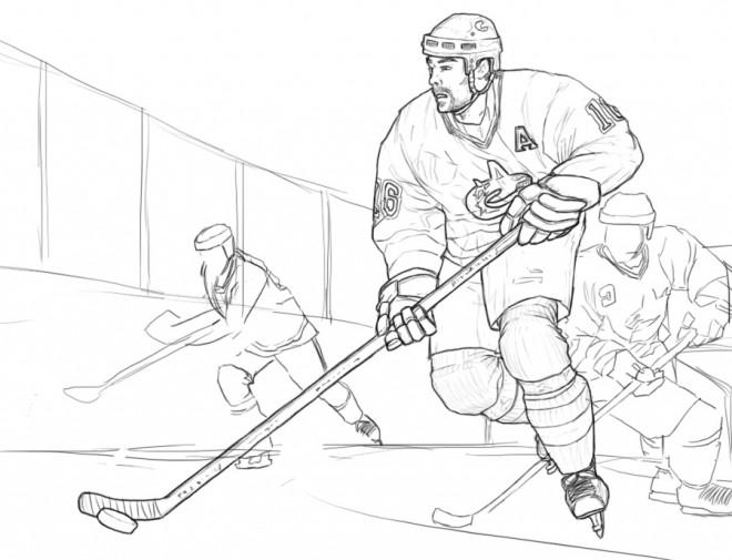 Coloriage et dessins gratuits Match de Hockey sur glace au crayon à imprimer