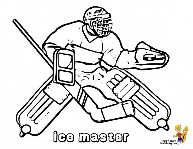 Coloriage et dessins gratuits Un Gardien Hockey à imprimer