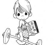 Coloriage et dessins gratuit Enfant mignon et la Musculation à imprimer