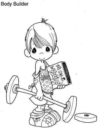 Coloriage et dessins gratuits Enfant mignon et la Musculation à imprimer