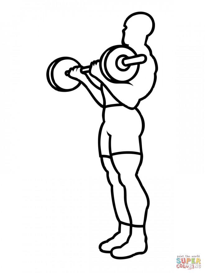 Coloriage et dessins gratuits Exercice de Musculation à imprimer