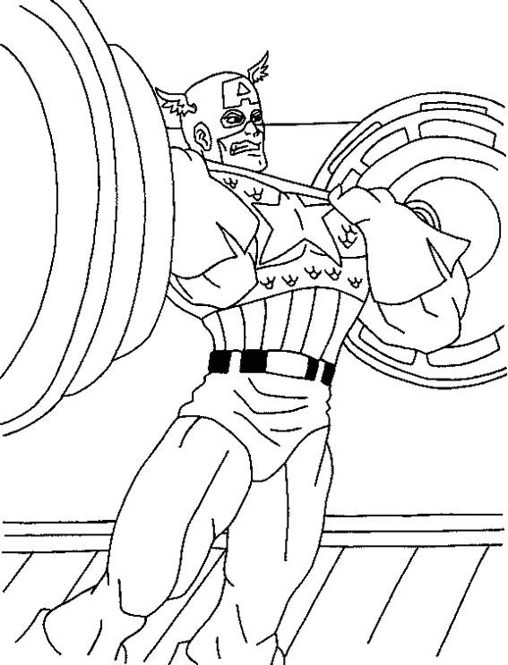 Coloriage et dessins gratuits Musculation Captain America à imprimer