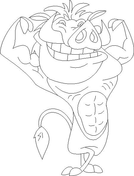 Coloriage et dessins gratuits Pumbaa fait de la Musculation à imprimer