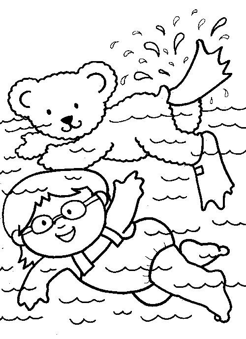 Coloriage et dessins gratuits Fille et Ours nagent à imprimer