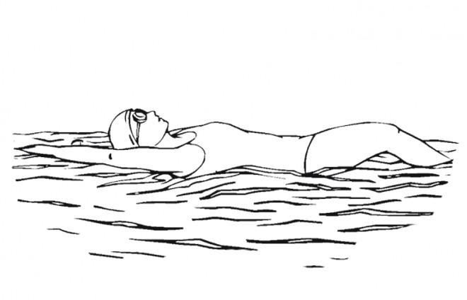 Coloriage fille nageuse dessin gratuit imprimer - Dessin natation ...