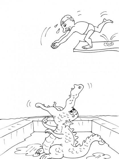 Coloriage et dessins gratuits Le pauvre nageur à imprimer