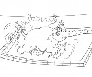 Coloriage et dessins gratuit Nageur éléphant à imprimer