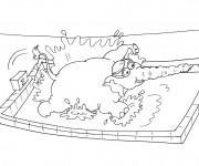 Coloriage Nageur éléphant