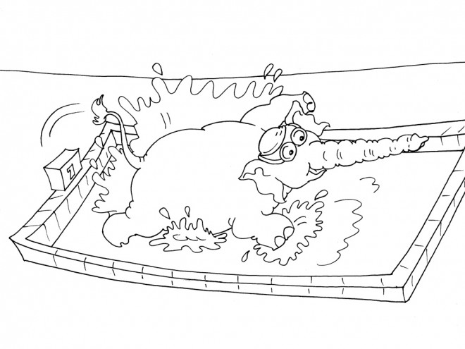 Coloriage et dessins gratuits Nageur éléphant à imprimer