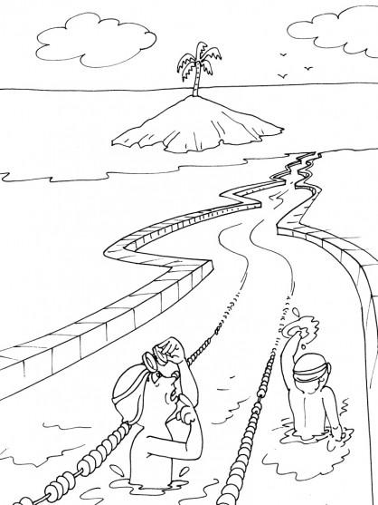 Coloriage et dessins gratuits Natation dans l'île à imprimer