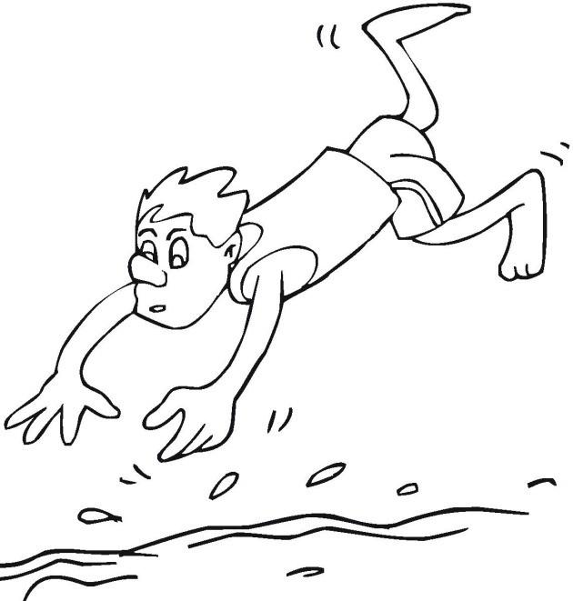 Coloriage et dessins gratuits Plongeon dans la piscine à imprimer