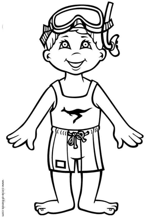 Coloriage et dessins gratuits Un petit nageur mignon à imprimer