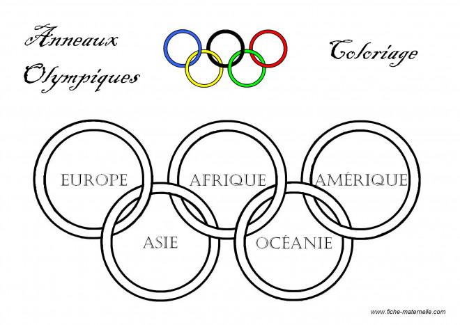 Coloriage et dessins gratuits Anneaux Olympique symbole des continents à imprimer