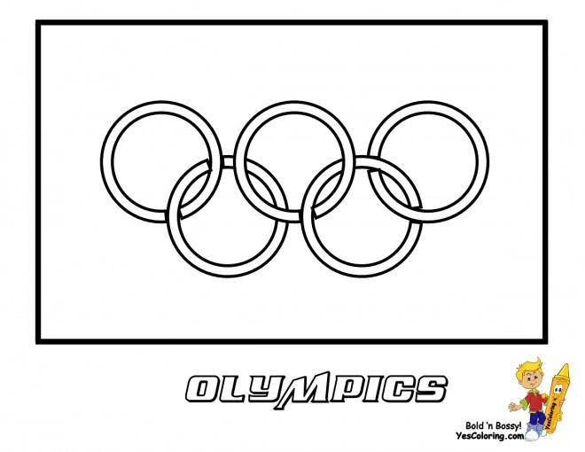 Coloriage et dessins gratuits Anneaux Olympiques cadrés à imprimer