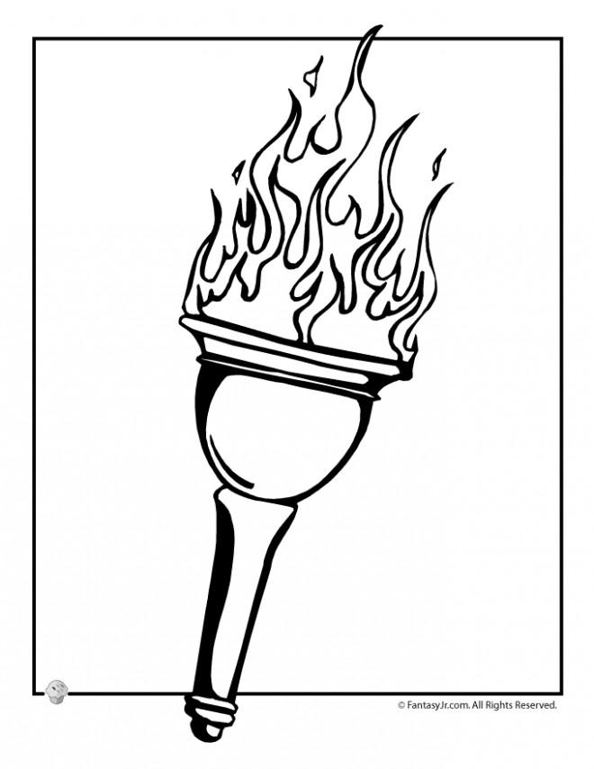 Coloriage et dessins gratuits Flamme Olympique en couleur à imprimer