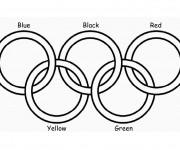 Coloriage et dessins gratuit Jeux Olympiques en cinq couleur à imprimer